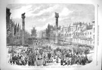 Original Old Antique Print 1864 Festival Antwerp Procession Cathedral Victorian