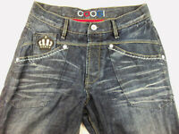 COOGI MEN'S JEANS Embroidered Dark Blue Royal Crew Size 34 X 34 Button Fly