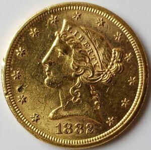 1882 S $5 Liberty Head Gold Half Eagle