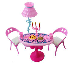 Vintage Furniture Lamp Chair Table Tableware Food Playset For Barbie ecL