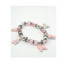 Breast Cancer Awareness Pink Ribbon Dangle Charm Fashion Stretch Bracelet
