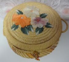 Vintage  China Straw Wicker Woven Crafts Sewing Basket Box