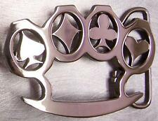 Pewter Belt Buckle Gamble Cards Suits Knuckles NEW