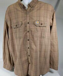 Carhartt Mens Shirt Size 2XL Tall Long Sleeve Plaid Beige