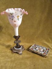 19th c french champleve enamel on bronze storage tray & vase (opaline)