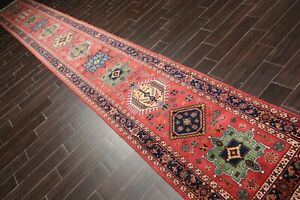 "2'8'' x 20'8"" Runner Hand Knotted 100% Wool Arts & Crafts Oriental Area Rug Rose"