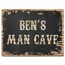 PP1666 BEN'S MAN CAVE Plate Chic Sign Home Room Garage Decor Birthday Gift