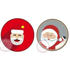 Santa Father Christmas 24 x 45mm Round Stickers, Gifts Presents Chocolate Coins