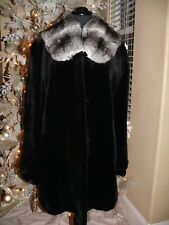 Gorgeous Black Sheared Female Mink and Chinchilla Fur Stroller Coat Jacket NWOT