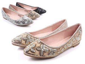 Champagne Color Glitter Round Toe Slip On Only Rhinestones Womens Flats Size 6