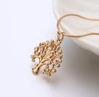 Vintage 14K Gold Tree of Life Crystal Pendant Necklace Statement Women's Jewelry
