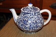 Antique Blue Spongeware Teapot Blue & White Floral Flower Designs