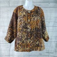 Coldwater Creek Womens Top Sz 18 Brown Orange Button Front 3/4 Sleeve Semi Sheer