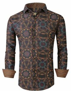 Mens PREMIERE Long Sleeve Button Down Dress Shirt MULTI COLOR ABSTRACT CHAIN 694