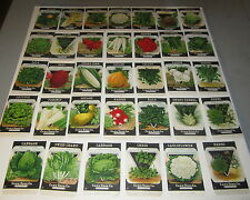 34 Different Original Old Vintage 1920's Card Seed VEGETABLE SEED PACKETS -EMPTY