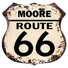 BPHR0016 MOORE ROUTE 66 Shield Rustic Chic Sign  MAN CAVE Funny Decor Gift