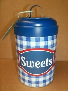 """The PIONEER WOMAN Decorative Tin SWEETS Blue Gingham Check 6 1/2"""" NEW"""