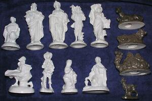 Christmas Nativity Atlantic Mold Vtg Accessories Only Set Porcelain 13 Pcs 8 In