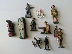 Vintage Lot Of 10 Die Cast Metal Toys, Soldiers, Cars