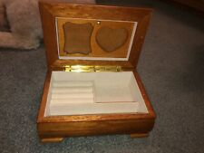Wooden Jewelry Box With Built In Picture Frame Lid Great Condition