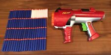 RED NERF HYPERFIRE Dart Tag Gun 10 Round Rotating Barrel Vest AND 81 DARTS!