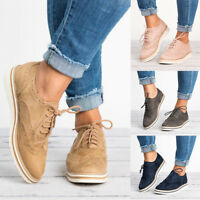 Women Casual Wedge Oxfords Plus Size Lace Up Brogues Shoes Dress Formal Flats