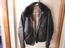Vintage Schott Leather & Shearling Lined Bomber Flight Jacket  SZ-38
