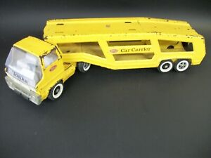Vintage Tonka Yellow Car Carrier Truck 1950's / 1960's Rare Pressed Steel