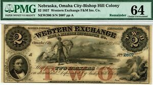 $2 Western Exchange, Omaha City, Nebraska.  PMG 64 Choice Uncirculated. Indians.