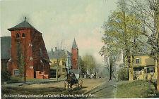 c1910 Amesbury, Mass Main Street Churches, Dirt Road, Horse & Buggy Postcard