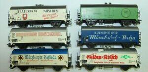 Märklin H0  sechs ältere Bierwagen 13,5 cm Würzburger, Gilden-Kölsch, Mönchshof