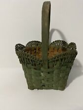 Antique Primitive Unusual Basket In Green Aafa