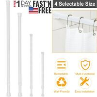 Tension Curtain Rod Spring Load Adjustable Curtain Pole Heavy-Duty Steel 4 Sizes