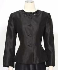 Kasper Black Jacket Only Size 8 Polyester Beaded At Neckline Women's New *