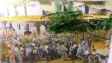 1890's Magic Lantern Slide Indian Women and Girls Bathing Procession Queue
