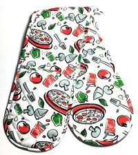 MagicHands, Fun Coke Pizza, Long Double Oven Glove, Mitts, Thick, 100% Cotton