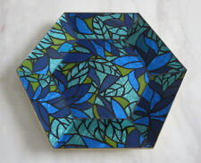 Hexagon Vintage Signed Georges Briard Blue Green Glass Guild Mosaic Tray