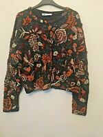 BNWT ZARA MULTICOLOURED LIMITED EDITION FLORAL EMBROIDERED KNIT JUMPER SIZE M