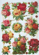 Glanzbilder Oblaten Scraps Blumen Rosen Rosenstrauß ef 7393