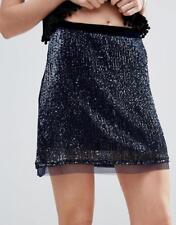 FREE PEOPLE Wild Child NWOT Women's Navy Blue Sequin Skirt US 4 RRP $136