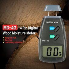4 Pin Digital Surface Damp Wood Moisture Meter Detector Tester Sensor LCD Screen