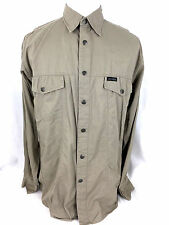 Harley-Davidson Shirt Mens M Beige Button Front Long Sleeves