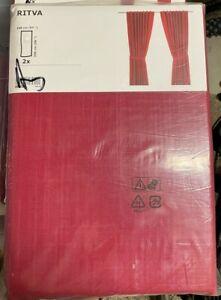 "New Ikea Ritva Curtain, standard 57 x 98"" 1 Pair of Window Drapes, Red, Cotton"