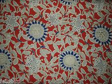 """RALPH LAUREN CURTAIN FABRIC  """"Cote D'Azur Floral Poppy"""" 0.65 METRES POPPY (65 CM"""