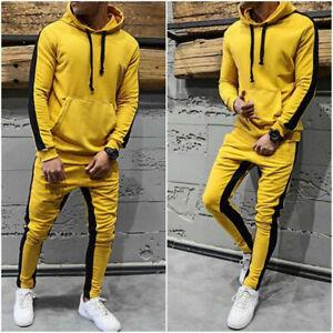 Men jogger Tracksuit Casual 2 Piece Athletic Pants Hooded Hoodie Sweatsuit Set