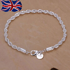 925 Sterling Silver Twisted Rope Bracelet 3mm Thick Chain Link Ladies UK Seller