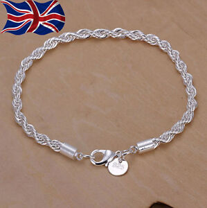 925 Sterling Silver Twisted Rope Bracelet 3mm Thick Chain Link UK Seller