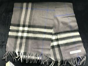 Burberry Men's Women's Gray Black Classic Check Cashmere Winter Scarf 168 x 30cm