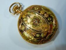 Antique 3 color 14K gold Elgin pocket watch Hunter case 52151 works 21468290