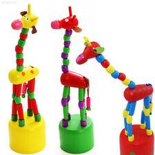 0EF9 GIRAFFA PUPAZZO Swing in Legno Bambini Educativo Cartoon Divertente Animale Mano Dita